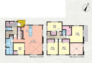 【間取り】高座郡寒川町全4棟 新築戸建 2号棟