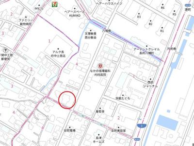 【地図】長府前八幡町B借地