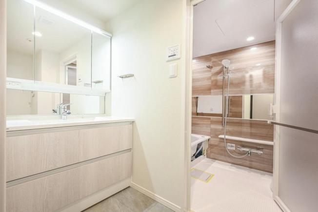 ユニーブル西荻窪Ⅱ:明るく清潔感のある三面鏡付き洗面化粧台です!