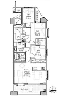 新規内装リノベーション済、開放的で陽当り良好な東南角部屋です