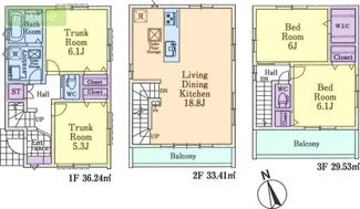 リビング20帖 全室6帖以上 即日内見物件 船橋市栄町 全2棟 2号棟