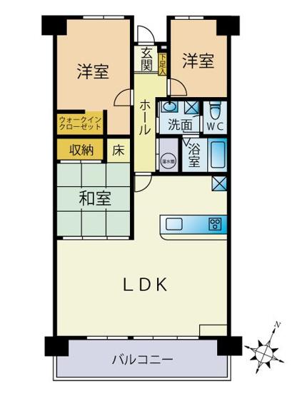 3LDK、専有面積74.17㎡、バルコニー面積9.6㎡ LDK19.6帖、和室4.5帖、洋室(左側)5.4帖、洋室(右側)4.2帖