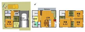 4SLDK、各部屋収納、土間収納、駐車2台の間取りプランです。 1F:41.31平米 2F:41.31平米 3F:41.31平米 延床面積:123.93平米 ※車庫部分面積17.01平米含む