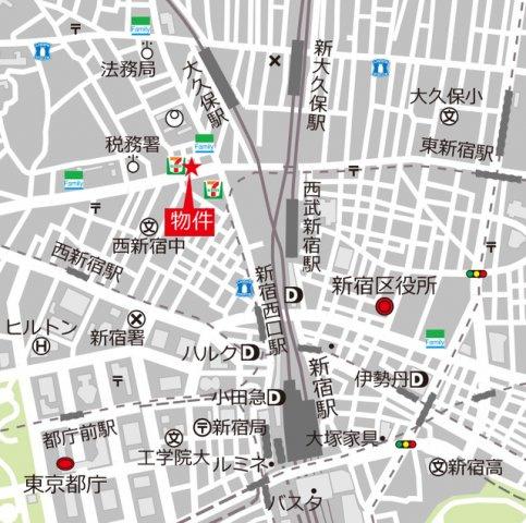【地図】アーバネックス西新宿Ⅱ