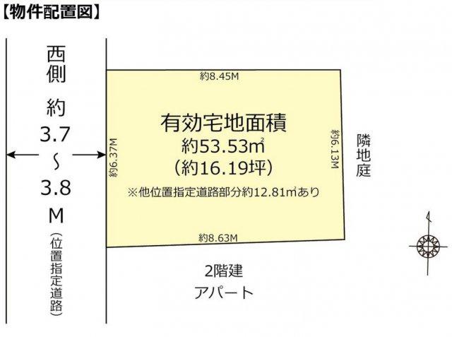 【土地図】仲介手数料無料 中野区中野5丁目 建築条件なし売地