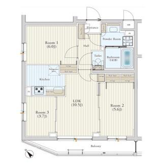 全室に採光があり爽やかな角部屋の3LDK、セキュリティ充実