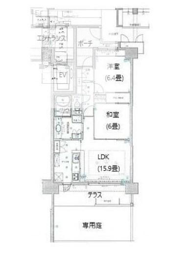 専有面積65.41平米、バルコニー面積12.73平米~1階専用庭付き、和室の有る2LDK