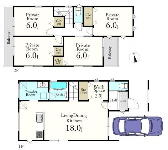 4LDK、土地面積97.8m2、建物面積107.34m2   1階リビング+水回りを配した家事動線に優れた間取りです