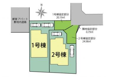 【区画図】東村山市美住町1丁目 全2棟 1号棟