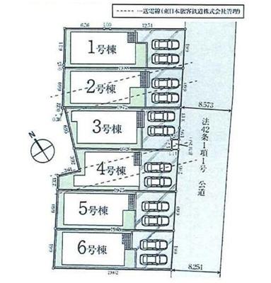 【区画図】所沢市若狭3丁目 全6棟 1号棟