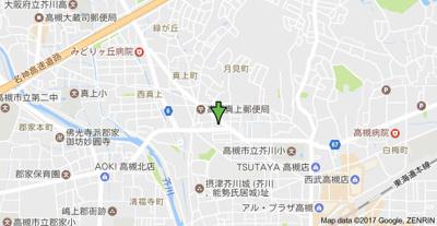 【地図】ラグラシューズ スモッティー阪急高槻