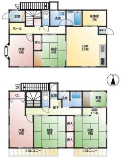 2世帯住宅にも適した6LDK 2階にも浴室があります 外階段で2階への出入りもしやすくしています
