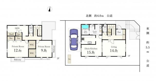 2LDK、土地面積196.83m2、建物面積155.8m2 、電動シャッター付駐車場(2台可 車種による) 書斎・WIC2か所・物置 完備