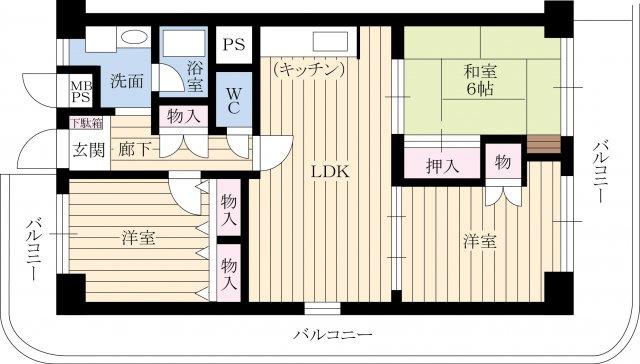 最上階・三方角部屋・引き回しバルコニー・陽当り&通風&眺望良好
