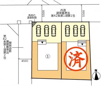 【区画図】郡山市大槻町人形坦東新築一戸建て2棟