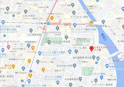 【地図】グリーンハウス八丁堀