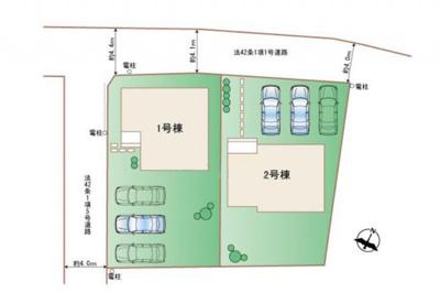 2号棟 日当たり良好な全室南向き 並列3台分の駐車スペース有 ワイドバルコニー付き