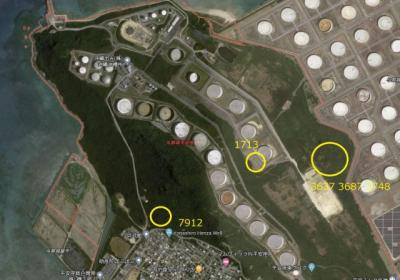 【地図】うるま市 石油産業用地