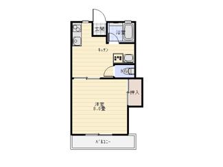 1人暮らしにピッタリな1DKのお部屋。洋室は8帖あります!