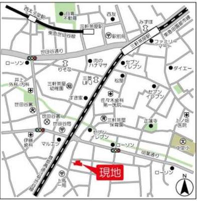 【地図】シェノン三軒茶屋 新築 ウォークインクローゼット 浴室乾燥機 オートロック