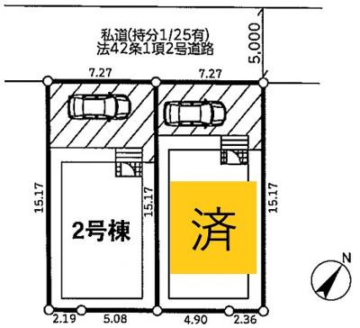【区画図】大野町3丁目2棟 新築戸建(残り1棟)