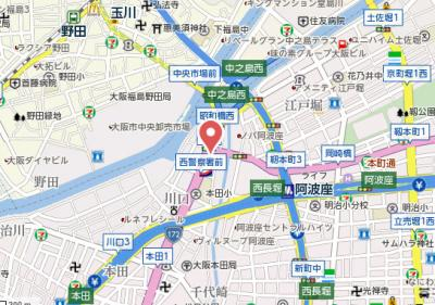 【地図】サムティ中之島WEST