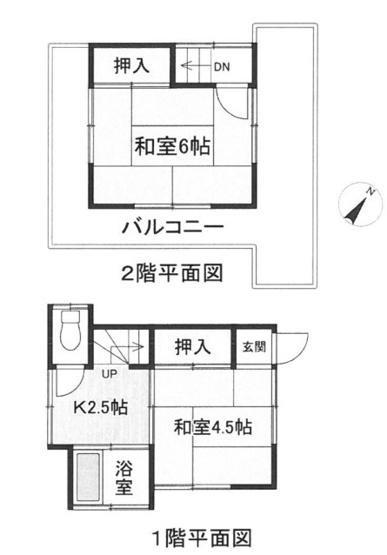 土地面積47.73平米、建物面積32.06平米~窓が多く、日当り通風良好、コンパクトな間取り2K、建物は古いですが、貴方好みのリフォーム可能