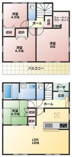 碧南市若松町21-1期新築分譲住宅1号棟間取りです。
