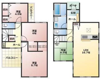 碧南市若松町21-1期新築分譲住宅2号棟間取りです。