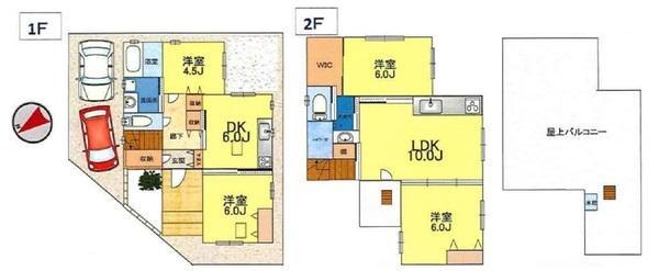2DK+2LDK、各階に水まわりがあり、2世帯住宅にぴったり。