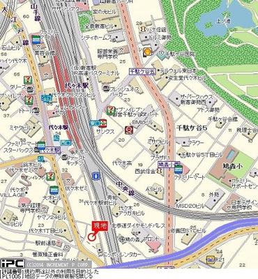 【地図】パークウェル代々木
