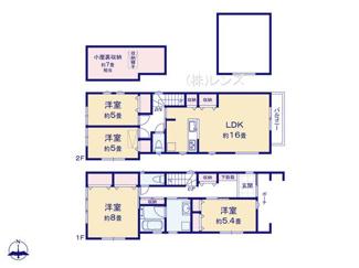 2号棟:プライバシーを守る2階LDK上部は開放的な勾配天井
