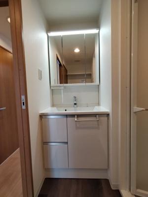 すっきりした洗面台。鏡の中と下部に収納があり、朝の身支度も楽にできますね!
