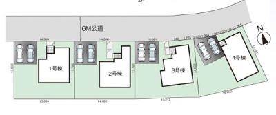 【区画図】新築建売 グラファーレ紫波町桜町6期 1号棟