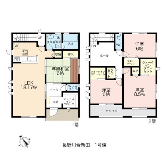 LDK18帖、居室は6帖以上、2階には広いホールとゆとりの間取り。WIC2か所、SICもあります。
