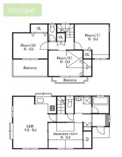 カースペース2台 各居室6帖以上 整形地 市川市若宮2