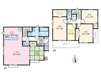 1号棟:広々LDKには寛ぎの和室が隣接、住宅性能表示取得物件