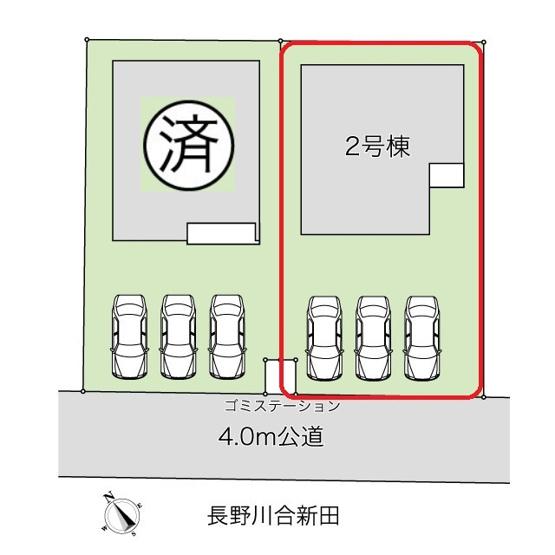 2棟の区画図です。南道路、駐車スペースで日当たり良。駐車並列3台可能。