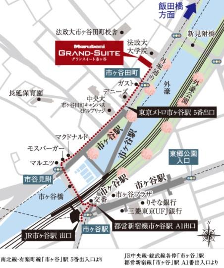 【地図】グランスイート市ヶ谷