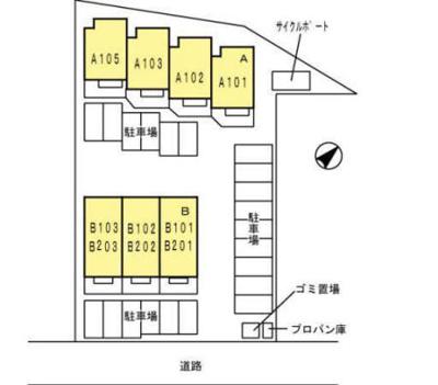 【区画図】ラシーヌYugawa A棟