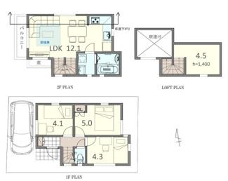 集中水まわりで効率的な家事動線、固定階段式グルニエが便利です