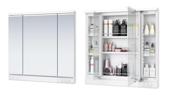 ◇Powder room◇三面鏡の裏には収納スペースもしっかりと。メラミン化粧板を使った収納扉は掃除がしやすく衛生的♪いつでも気持ちよくお使いいただけます。【当社施工例・標準仕様】