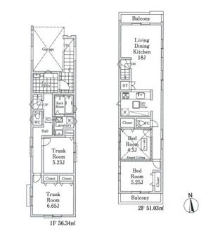 開放的な2階LDKは広々18帖、居室4部屋を確保・ガレージ付
