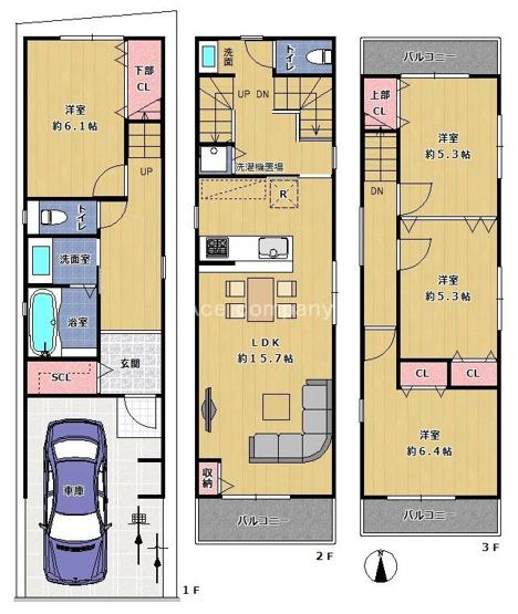 【4LDK+駐車1台】3階両面バルコニー☆生活スタイルで変更可能「2ドア1ルーム」あり♪
