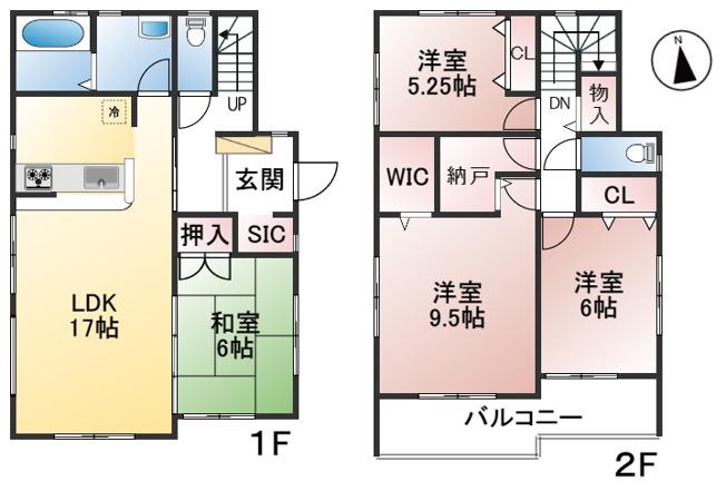 【1号棟】土地面積165.01㎡ 建物面積108.47㎡ 4SLDK