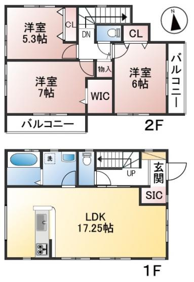 【2号棟】土地面積146.40㎡ 建物面積86.94㎡ 3LDK
