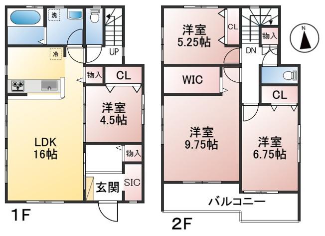 【4号棟】土地面積165.05㎡ 建物面積106.40㎡ 4LDK