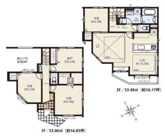 収納豊富な車庫付デザイナーズ住宅、2階LDKは広々18帖超