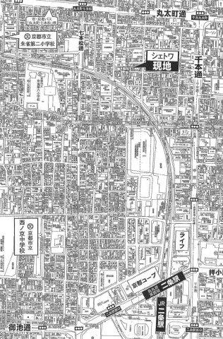 【地図】最寄り駅まで約8分!京都市中京区の収益物件