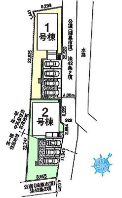 【区画図】鴻巣市大間 新築一戸建て全2棟